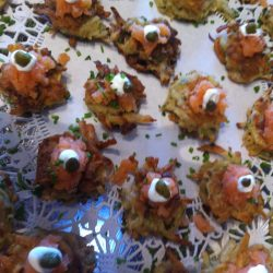 Potato Leek Latkes with Smoked Salmon